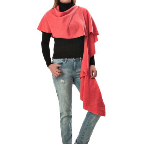 Minnie Rose Cashmere Petal Ruffled Wrap Scarf (For Women)