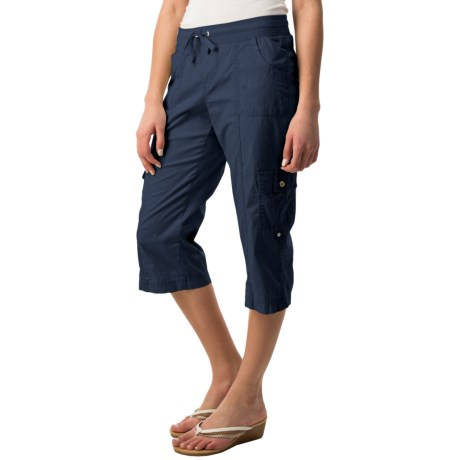 Elastic Waist Cargo Capris - 6-Pocket (For Women)