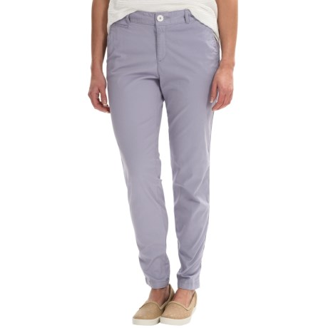 Stretch Cotton Pants - Flat Front (For Women)