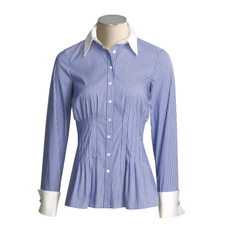 Eye White Collar Pinstripe Shirt - Stretch Cotton, Long Sleeve (For Women)