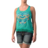 Cowgirl Up Fringed Chiffon Tank Top (For Women)