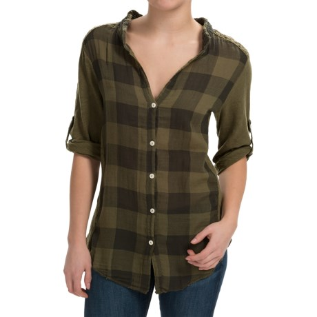 dylan Vintage Buffalo Check Blouse - Roll-Up Long Sleeve (For Women)