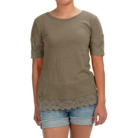 dylan Slub Lace-Trim T-Shirt - Short Sleeve (For Women)