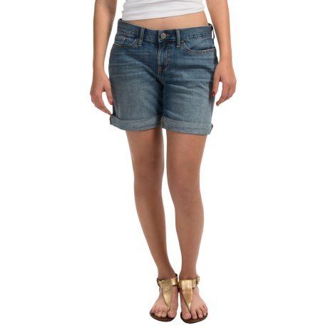 Cuffed Denim Shorts (For Women)