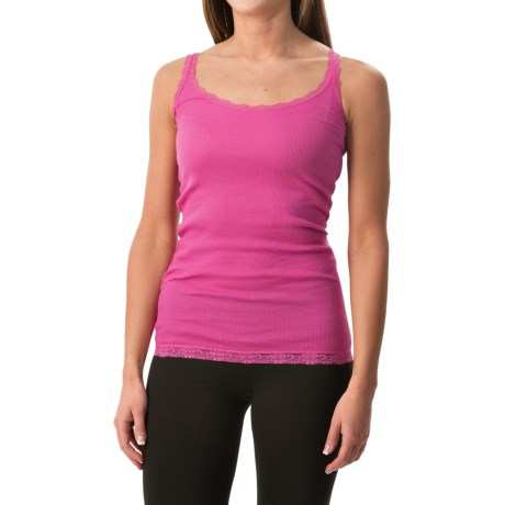 Rib-Knit Lace-Trim Tank Top (For Women)