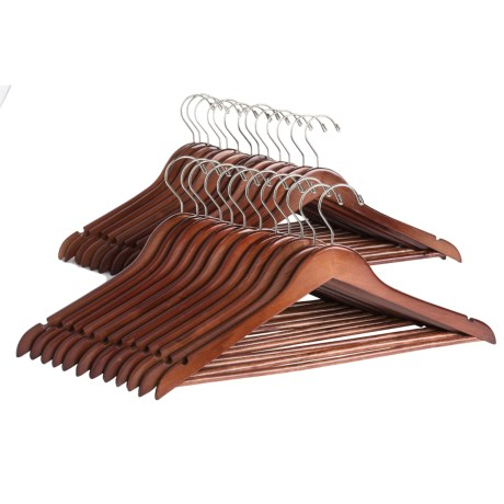 Great American Hanger Co. Flat Body Wooden Suit Hangers - 25-Pack