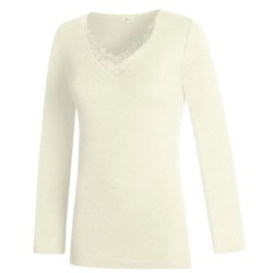 Medima V-Neck Top - Merino Wool-Angora, Long Sleeve (For Women)