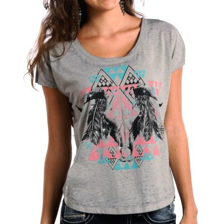 Rock & Roll Cowgirl Aztec Steer Skull T-Shirt - Short Sleeve (For Women)