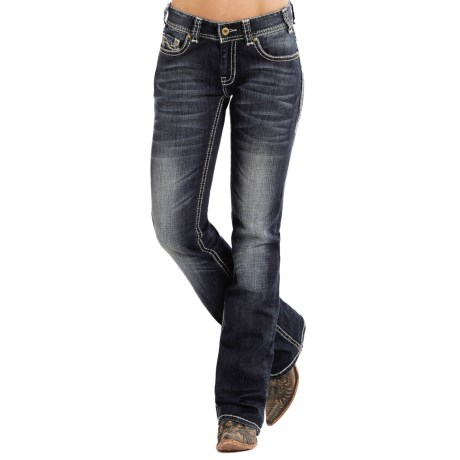 Rock & Roll Cowgirl Abstract Embroidered Jeans - Mid Rise, Bootcut (For Women)