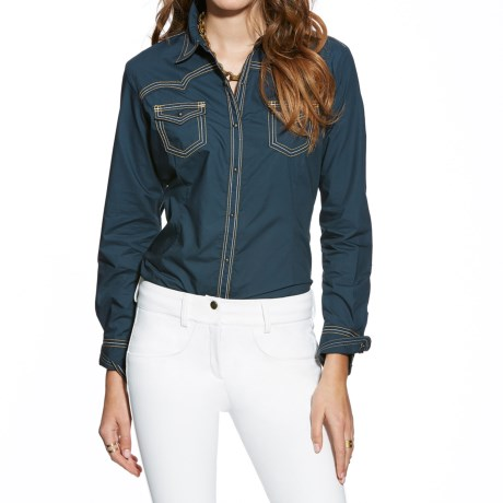 Ariat Locus Solid Western Shirt - Snap Front, Long Sleeve (For Women)