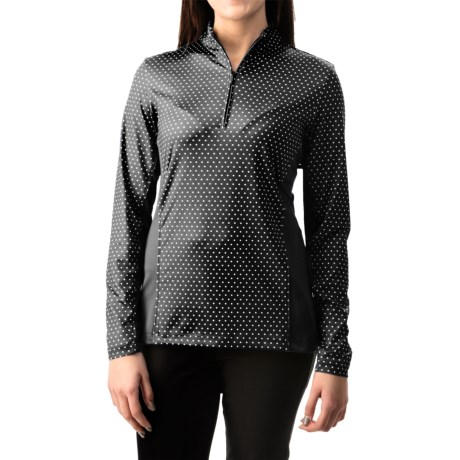 Specially made Active Printed Shirt - UPF 50, Zip Neck, Long Sleeve (For Women)