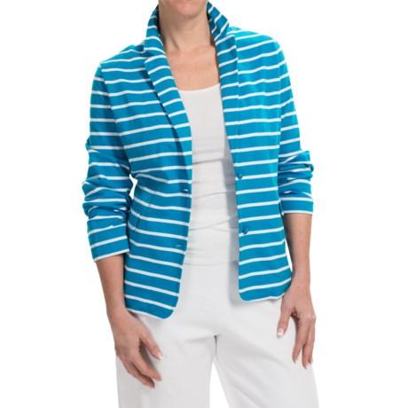 Joan Vass Striped Two-Button Jacket (For Women)