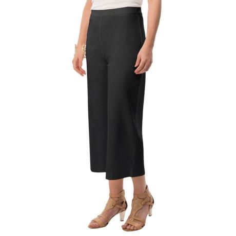 Joan Vass Cotton Crop Pants - Elastic Pull-On Waist (For Women)