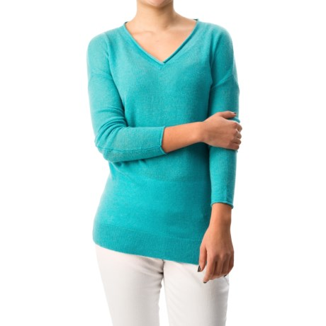 Forte Cashmere Relaxed V-Neck Sweater (For Women)