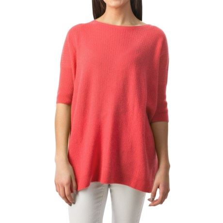 Forte Cashmere Cozy Oversized Sweater - 3/4 Sleeve (For Women)