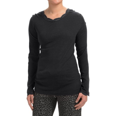 dylan Solid T-Shirt with Lace Neckline and Cuffs - Long Sleeve (For Women)