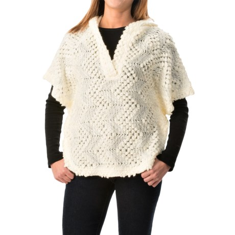 dylan Textured Poncho - Hooded, Short Sleeve (For Women)