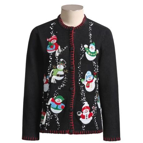 Cotton-Ramie Snowman Cardigan Sweater (For Women)