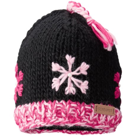Screamer Snowflake Tassel Beanie - Fleece Lined (For Little and Big Kids)