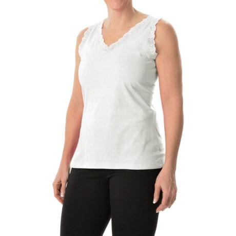 Nina Capri Lace Trim Tank Top - V-Neck (For Women)