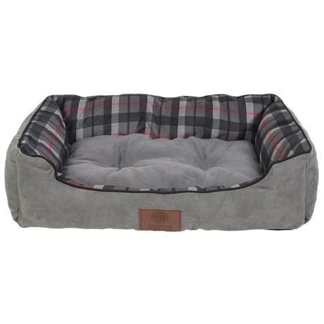 "AKC Suede and Plaid Cuddle Dog Bed - Medium, 28x20"""