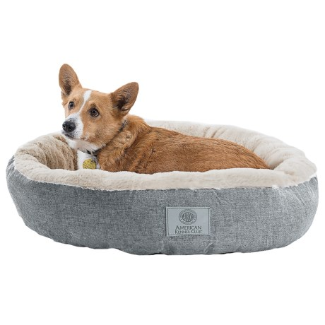 "AKC Burlap Faux-Fur Dog Bed - 28"" Round"