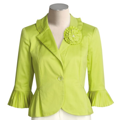 Anthracite Crystal-Pleated Jacket - Stretch Cotton (For Women)