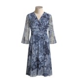 Maggy London Paisley Silk Chiffon Dress - Ruched Waist, ¾ Sleeve (For Women)