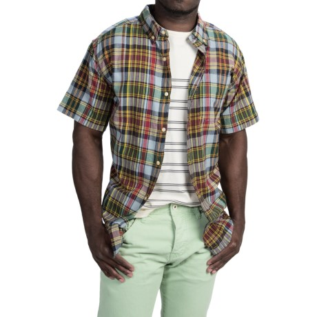 Stanley Madras Plaid Shirt - Button Front, Short Sleeve (For Men)