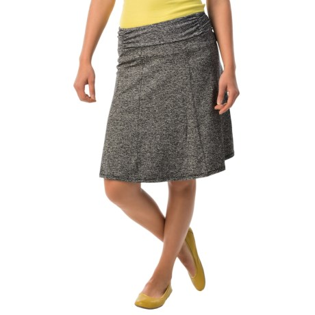 Stretch A-Line Skirt with Ruched Waist (For Women)