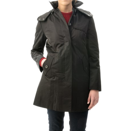 Cole Haan Outerwear Gabardine Rain Coat - Removable Hood, Quilted Liner (For Women)