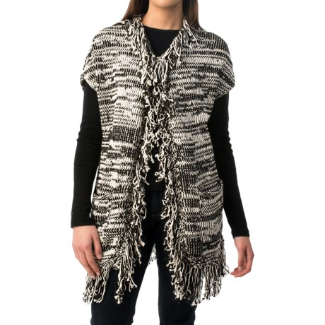 Pure Handknit Vintage Fringe Cardigan Sweater - Cotton (For Women)