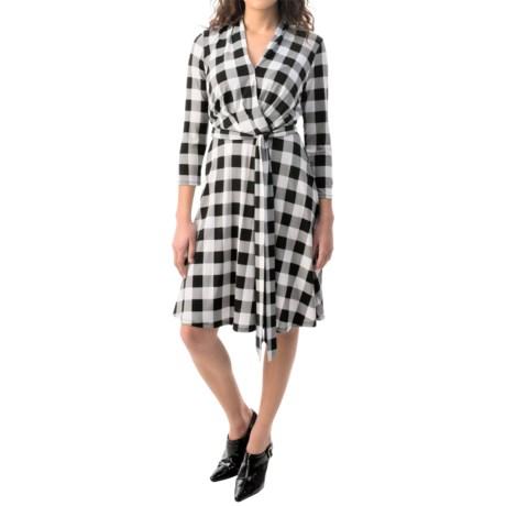 Chetta B Surplice Fit & Flare Dress - 3/4 Sleeve (For Women)