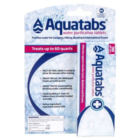 Aquatabs Water Purification Tablets - 30-Pack