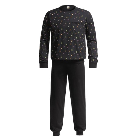 Calida Mercerized Interlock Cotton Pajamas with Cuff- Long Sleeve (For Men)