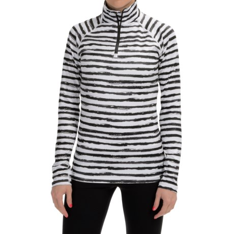 Neve Stripe Print Shirt - Zip Neck, Long Sleeve (For Women)