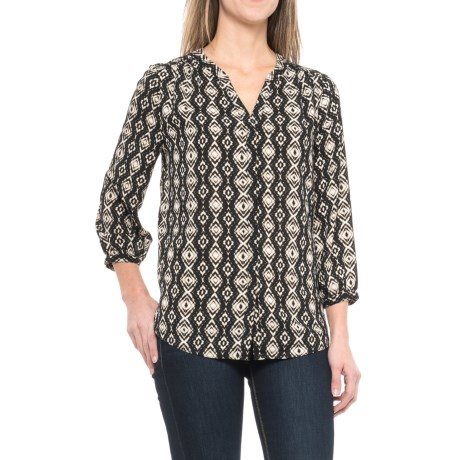 NYDJ Solid Pleated Back V-Split Neck Blouse - 3/4 Sleeve (For Women)