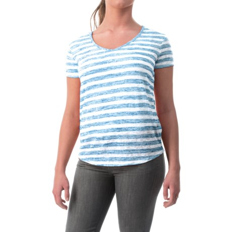 Specially made Bold Stripe Knit Shirt - V-Neck, Short Sleeve (For Women)