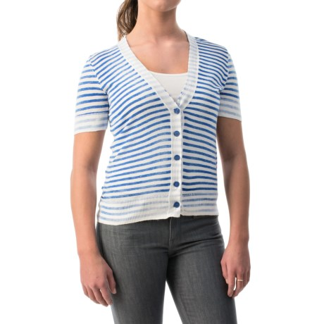 Stripe Cotton Cardigan Sweater - Short Sleeve (For Women)