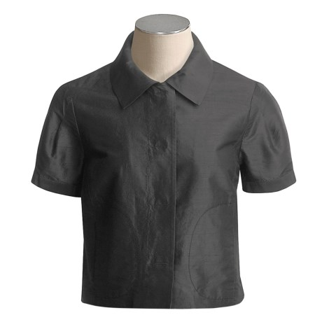 Magaschoni Silk Dupioni Jacket - Short Sleeve (For Women)