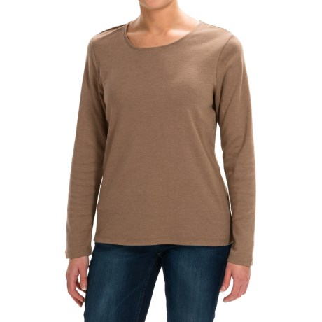 Solid Knit Shirt - Crew Neck, Long Sleeve (For Women)