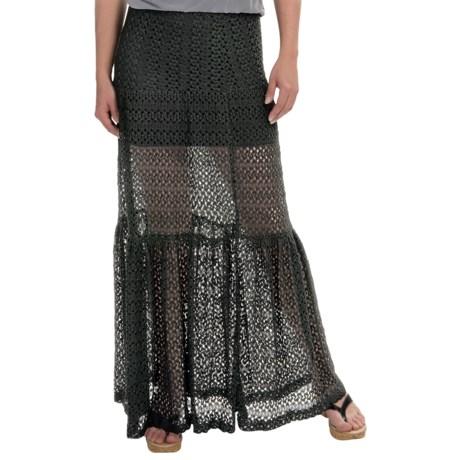 Olivaceous Crochet Maxi Skirt (For Women)