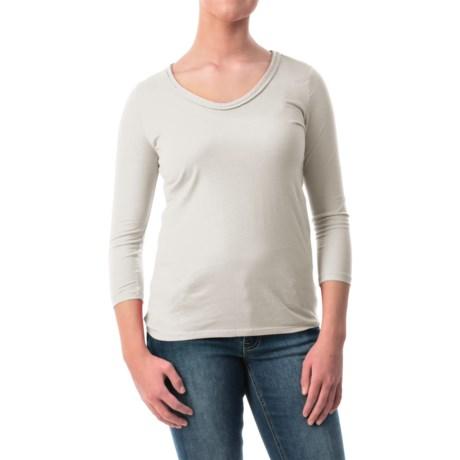 Braid Neck Cotton-Modal Shirt - 3/4 Sleeve (For Women)