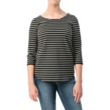 Striped Curved-Hem Shirt - 3/4 Sleeve (For Women)