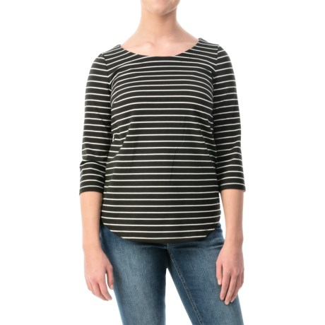 Striped Curved-Hem Shirt - 3/4 Sleeve (For Women)
