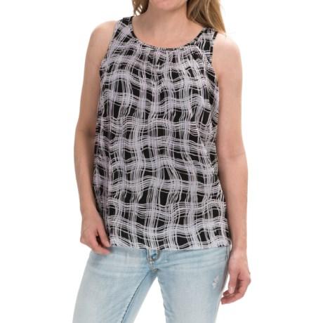 Layered Print Chiffon Shirt - Sleeveless (For Women)