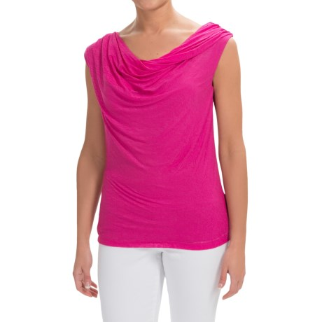 Specially made Rayon Cowl Neck Shirt - Sleeveless (For Women)