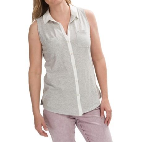 Knit Button-Down Shirt - Sleeveless (For Women)