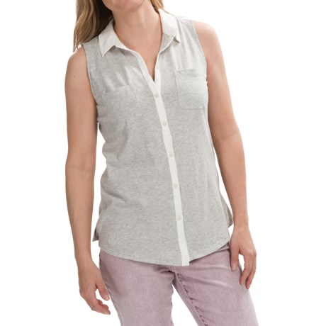 Knit Button-Down Shirt - Sleeveless (For Women)