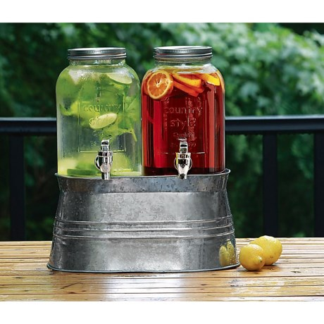 Circle Glass Country Twin Beverage Dispensers with Galvanized Base/Ice Tub - 2 gal.